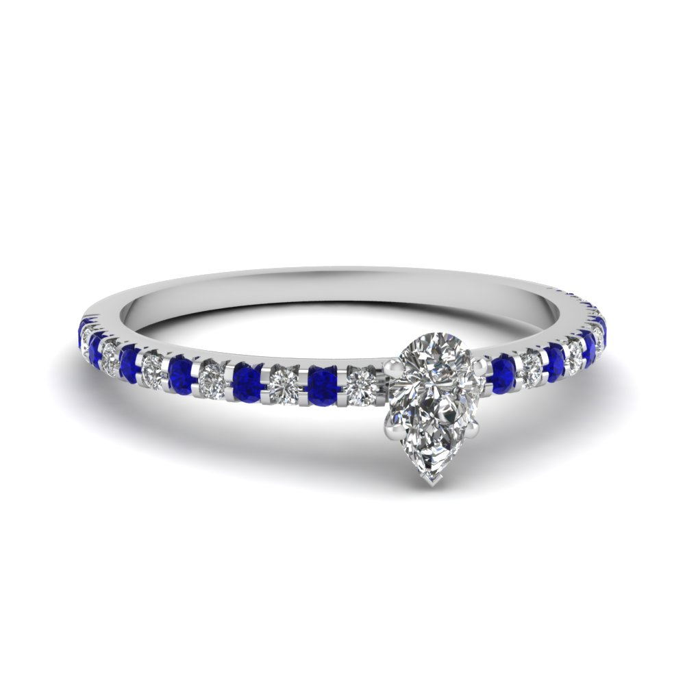 Small Pear Affordable Diamond Engagement Ring Band With Blue Sapphire In 950