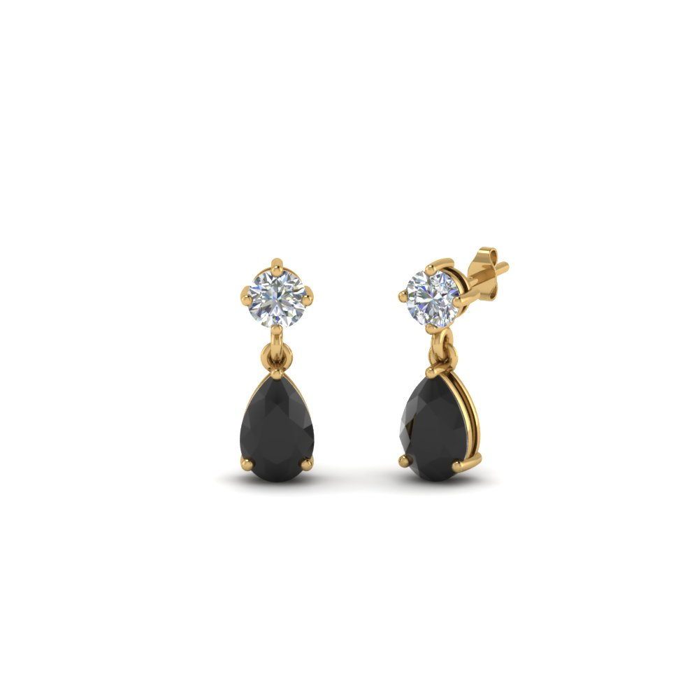 Small Teardrop Kids Earring With Black Diamond In