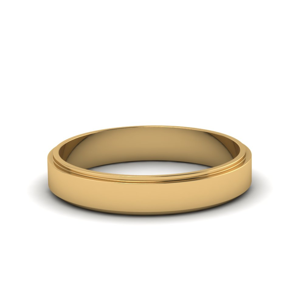 simple flat wedding anniversary band 4mm in 14K yellow gold FDFE7B 4MM NL YG