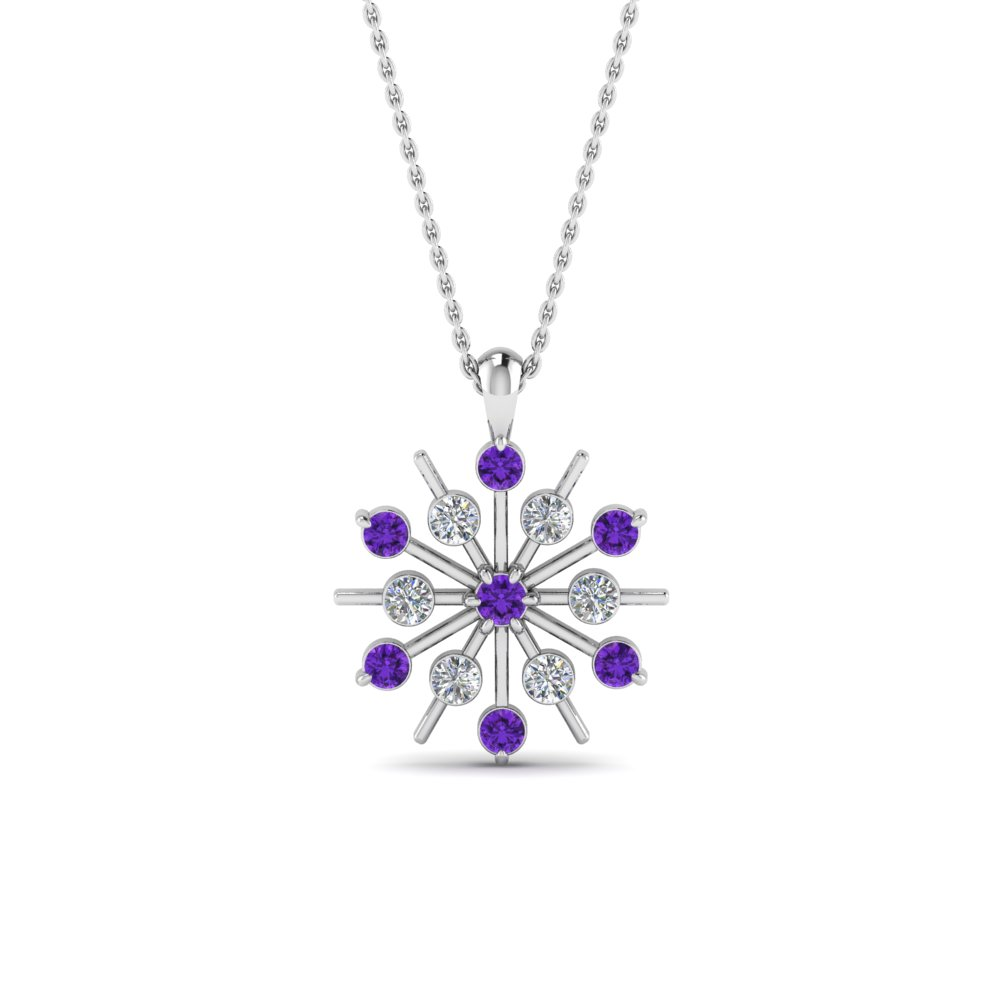 Snowflake Purple Topaz  Necklace