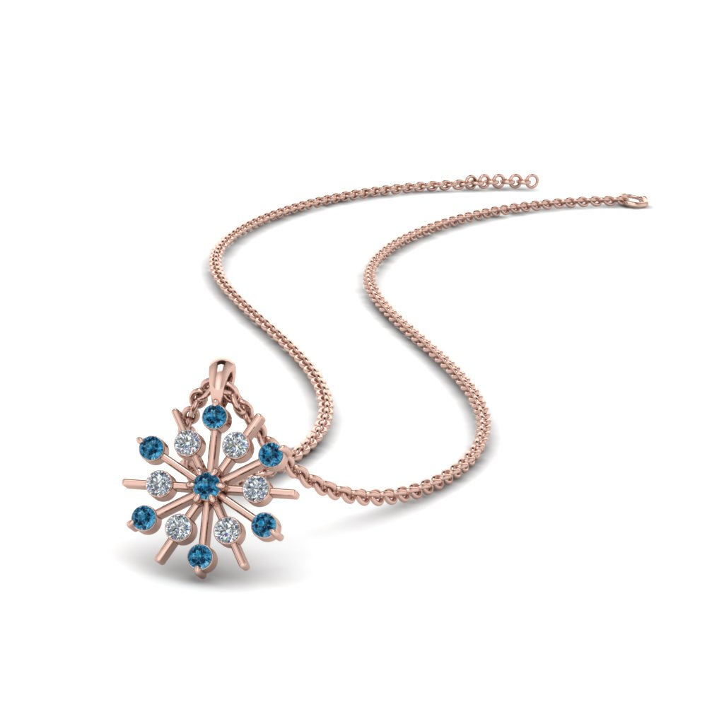 Blue Topaz With Snowflake Necklace