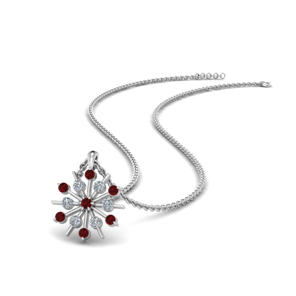 snowflake diamond pendant with ruby in FDPD8476GRUDR NL WG