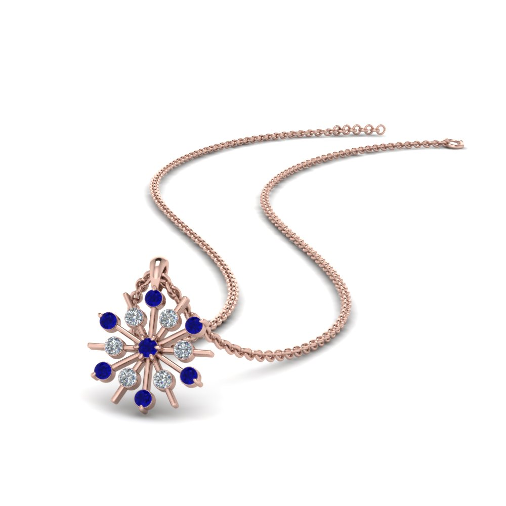 snowflake diamond pendant with sapphire in FDPD8476GSABL NL RG