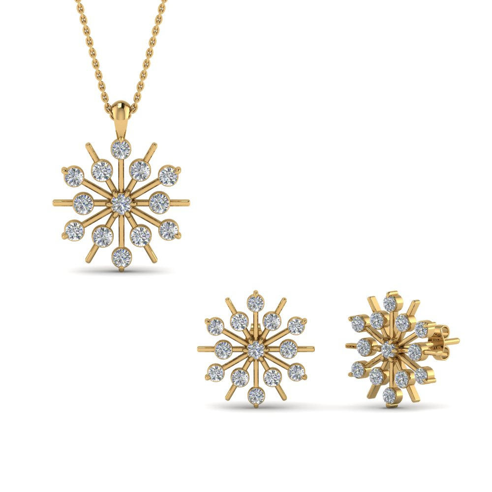 Snowflake Earring And Pendant Set In Fd8533