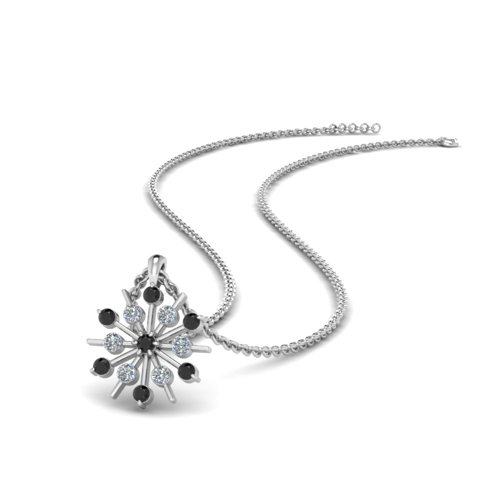 Snowflake Black Diamond Pendant