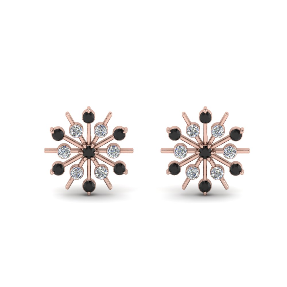 Black Diamond Snowflake Stud Earring