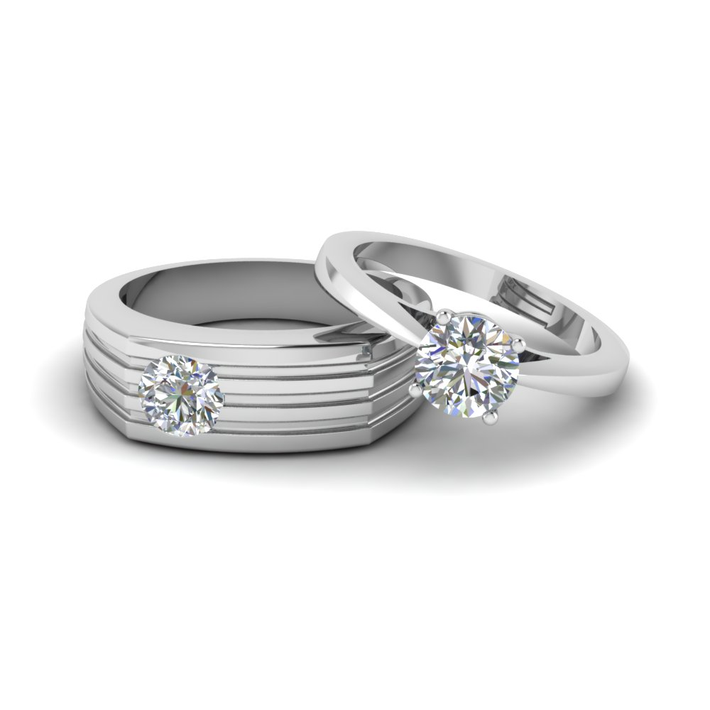 Solitaire Diamond Matching Wedding Anniversary Rings For S In 14k White Gold Fd8081r Nl Wg