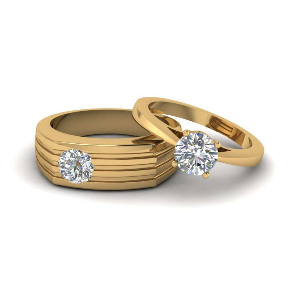 Solitaire Diamond Matching Wedding Anniversary Rings For Couples In