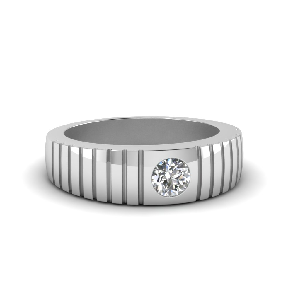 solitaire diamond wide band for men in 14k white gold
