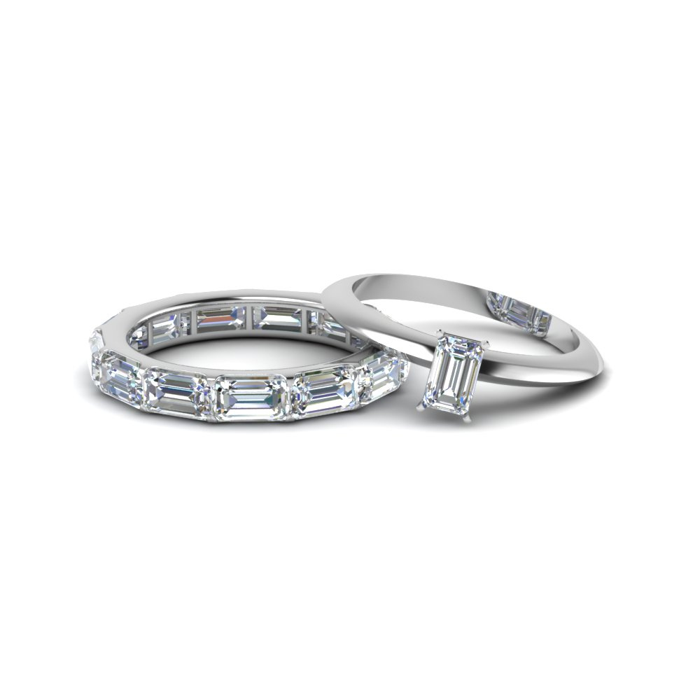 Solitaire Emerald Cut Ring With Eternity Band