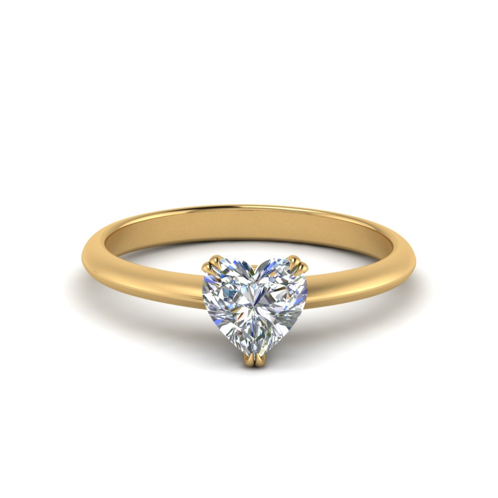 Tapered Heart Diamond Solitaire Ring
