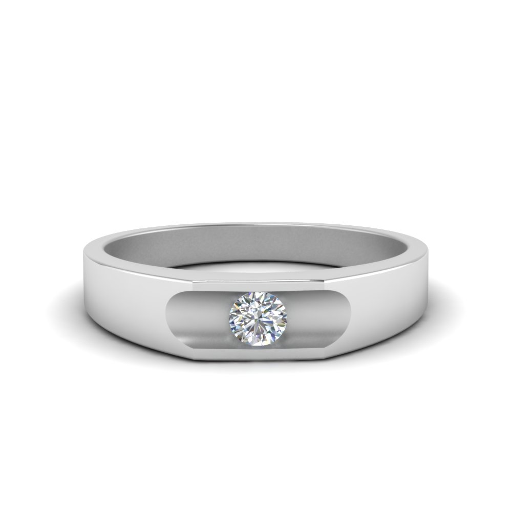 Solitaire Mens Engagement Band