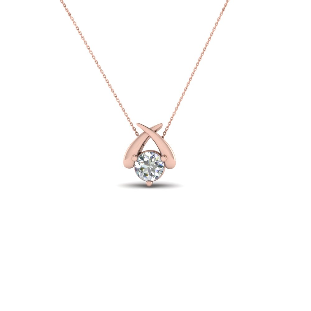 Solitaire Round Diamond Fancy Pendant Necklace In 18K Rose Gold