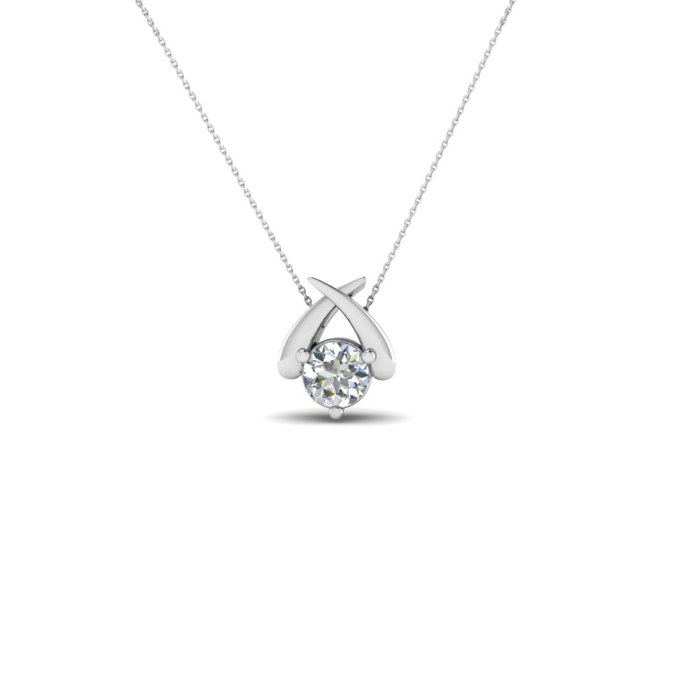 Solitaire round diamond fancy pendant necklace in 18k white gold 1 carat round single pendant aloadofball Image collections