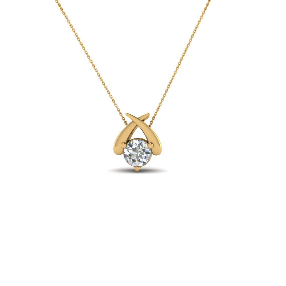 solitaire round diamond fancy pendant necklace in 18K yellow gold FDPD864RO NL YG