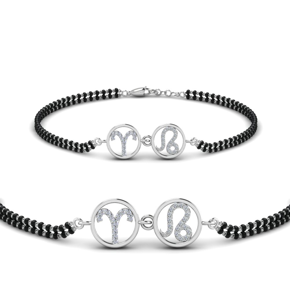 18K White Gold Diamond Mangalsutra Beads Bracelet