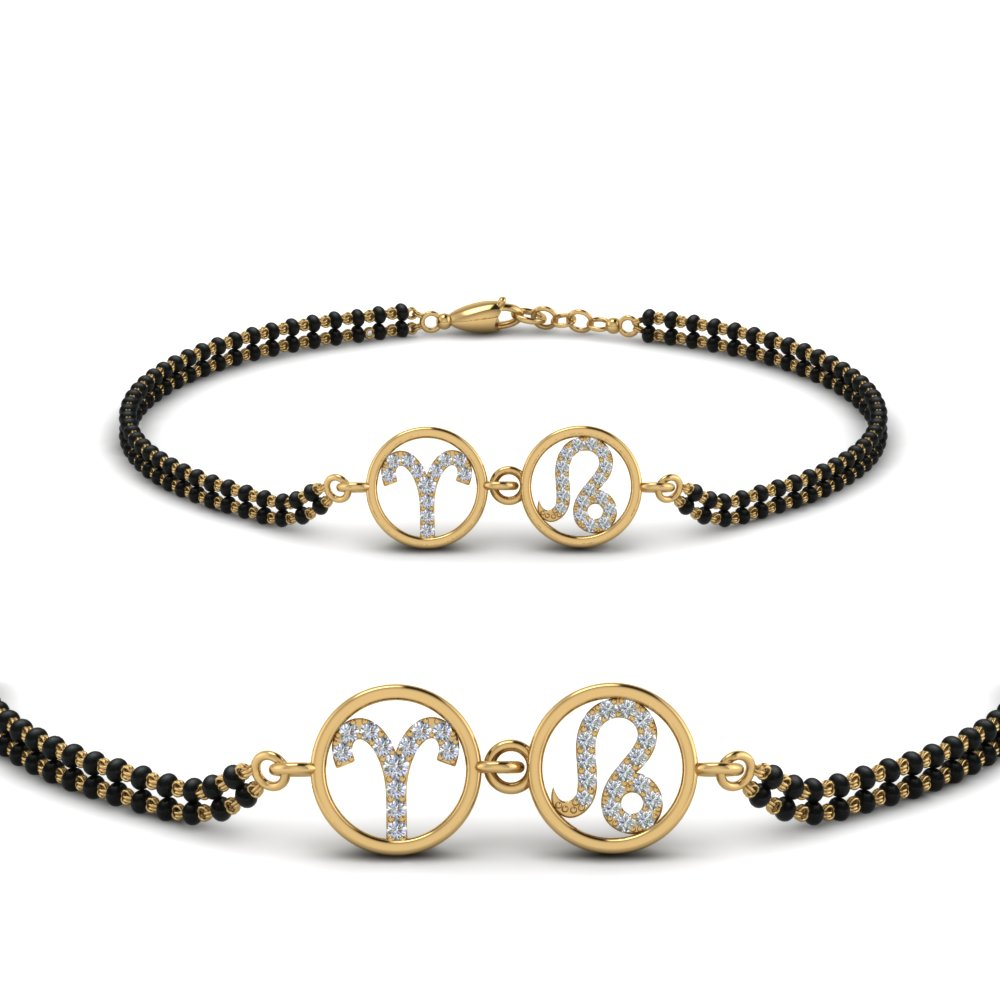 18k Gold Diamond Mangalsutra Beads Bracelet