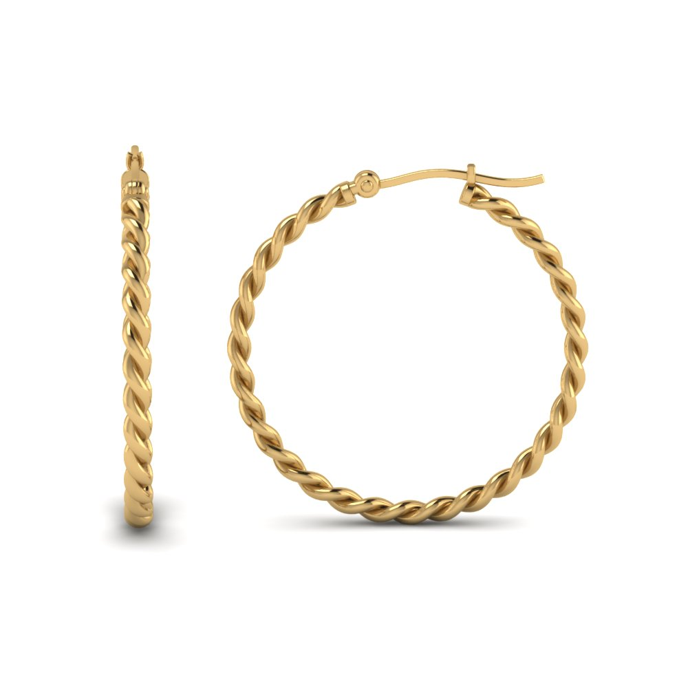 Twisted Rope Hoop Earring In 14K Yellow Gold | Fascinating Diamonds
