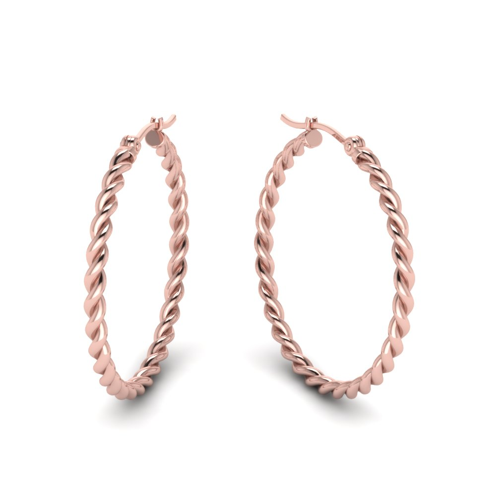 Twisted Rope Hoop Earring In 18K Rose Gold | Fascinating Diamonds