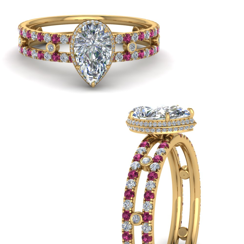 split-band-hidden-pear-halo-moissanite-engagement-ring-with-pink-sapphire-in-FD9171PERGSADRPIANGLE3-NL-YG