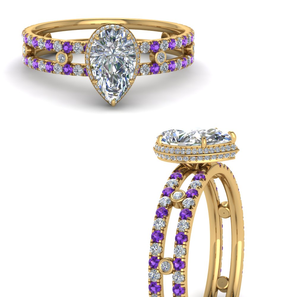 split-band-hidden-pear-halo-moissanite-engagement-ring-with-purple-topaz-in-FD9171PERGVITOANGLE3-NL-YG