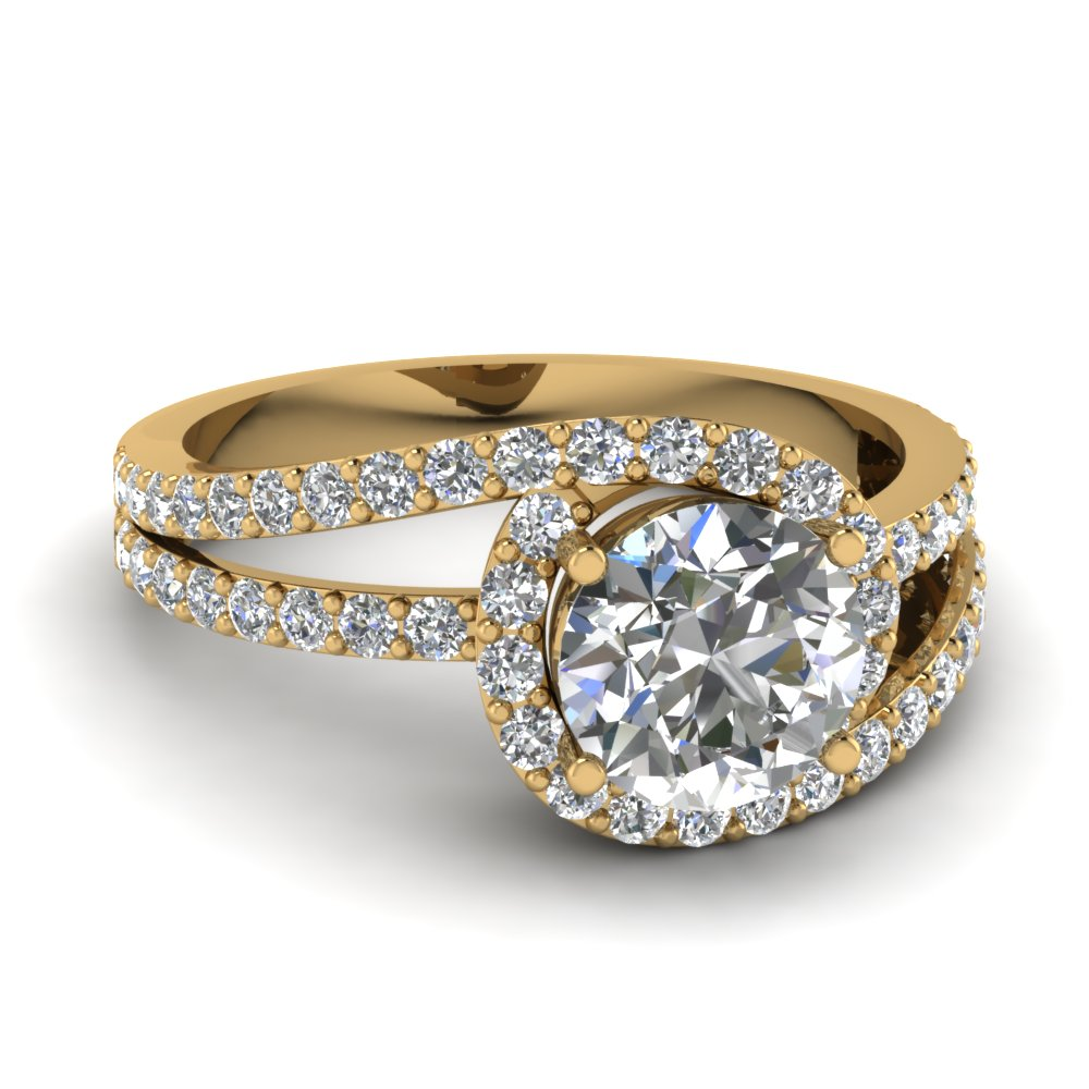 Split Band Twisted Halo Round Diamond Vintage Engagement Ring In 14K Yellow G