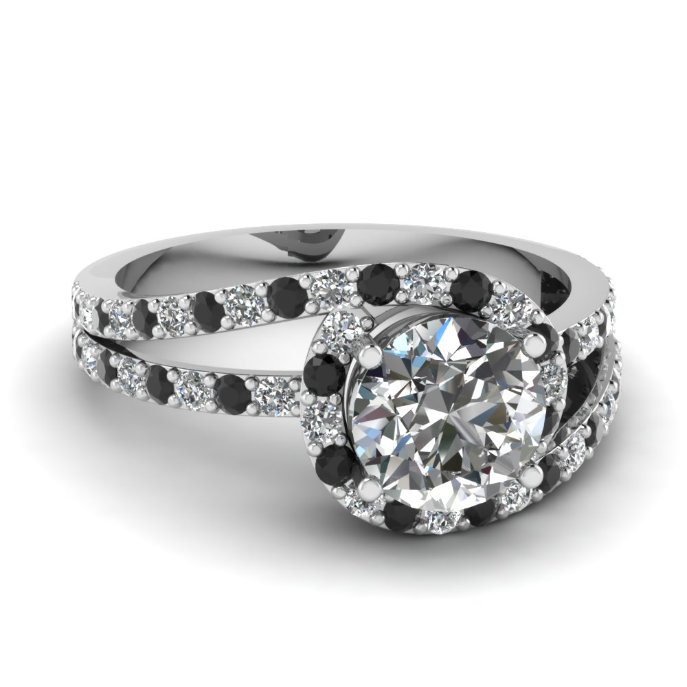 split band twisted halo round vintage engagement ring with