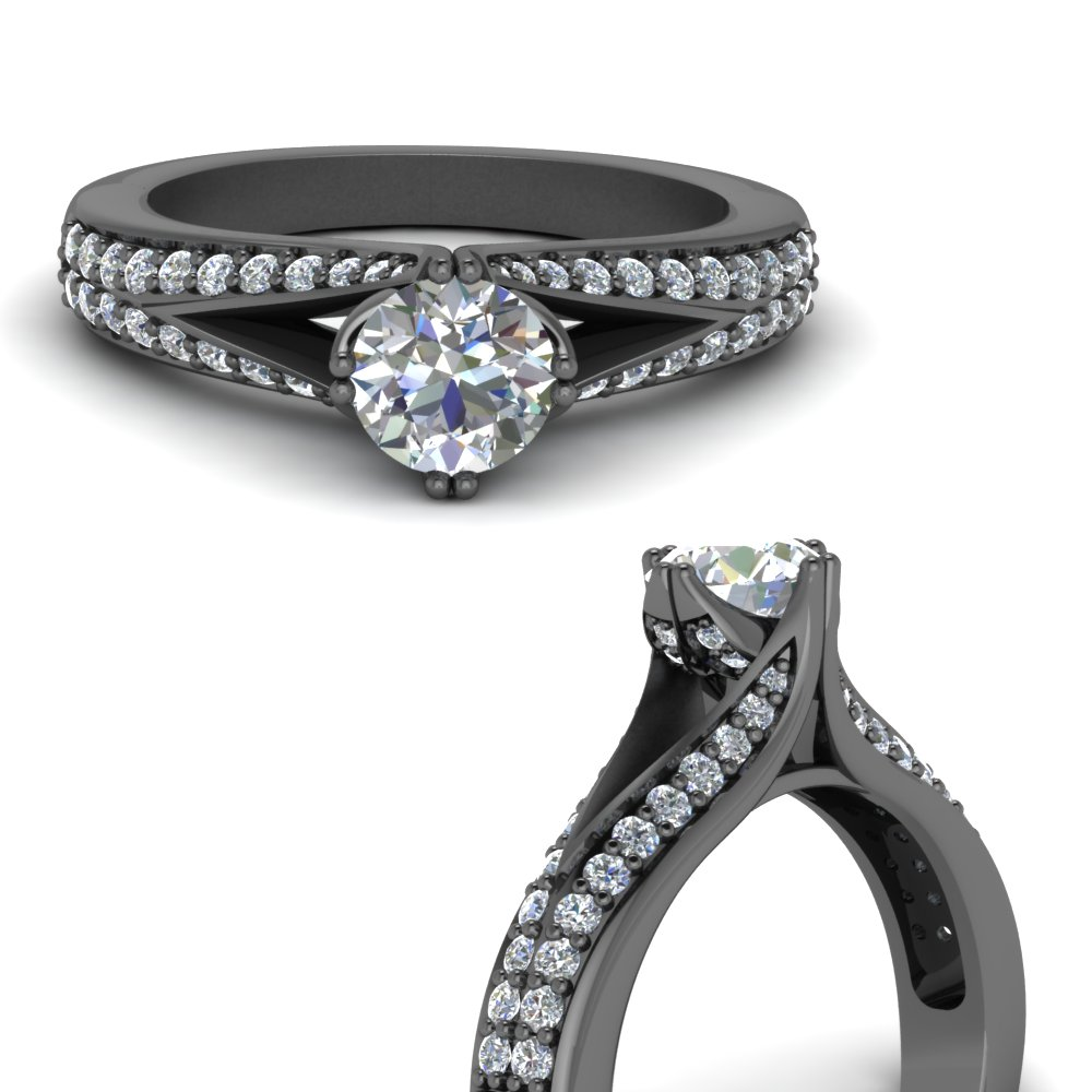 Black Gold High Set Diamond Ring