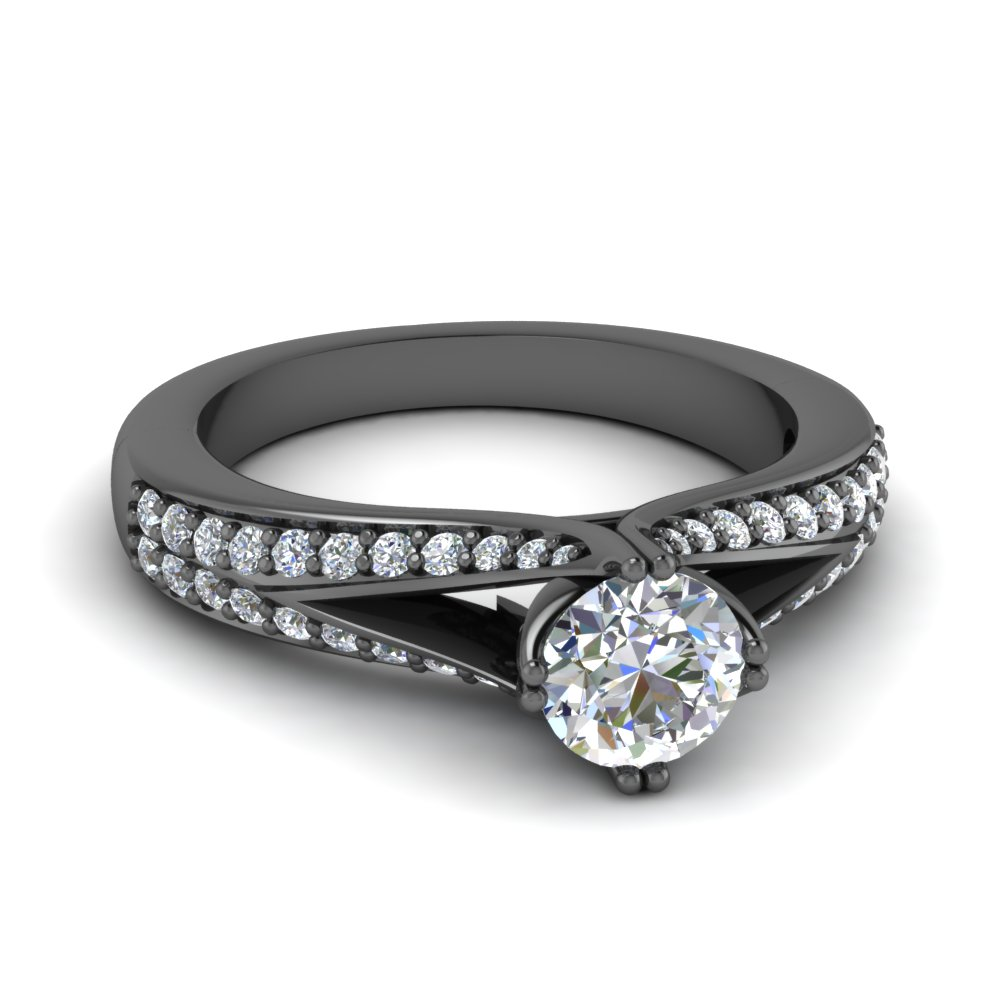 Black Gold Round Diamond Rings