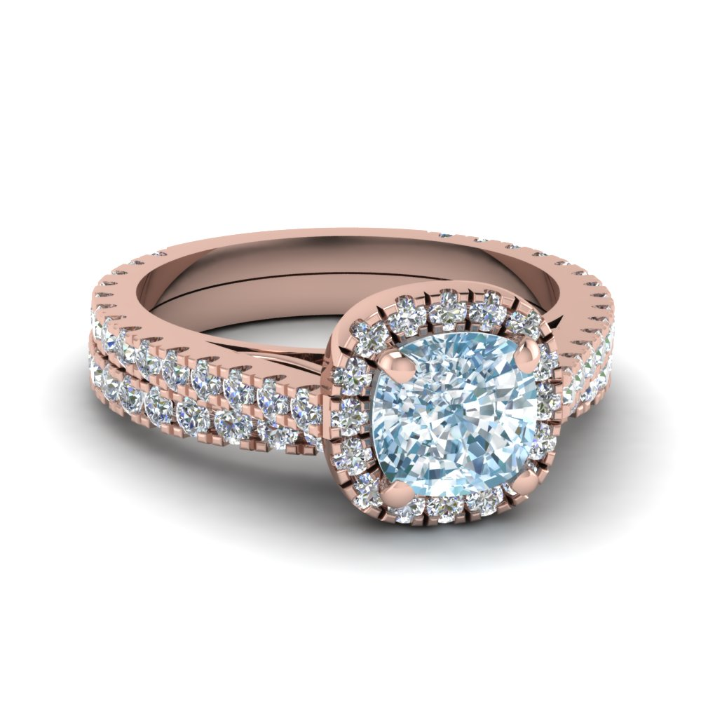 Floating halo aquamarine bridal set in 14k rose gold for Colored diamond wedding ring