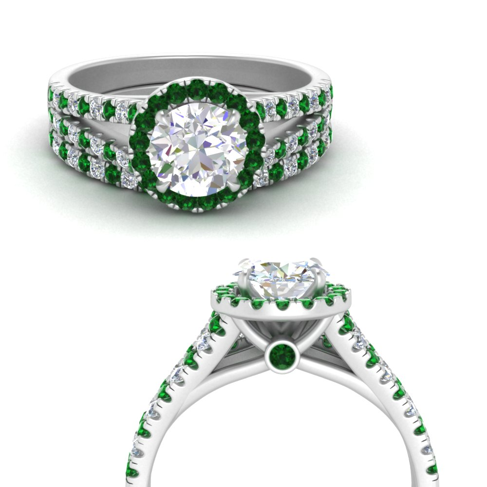 split-shank-halo-diamond-engagement-ring-with-emerald-matching-band-in-FDENS3150ROGEMGRANGLE3-NL-WG.jpg