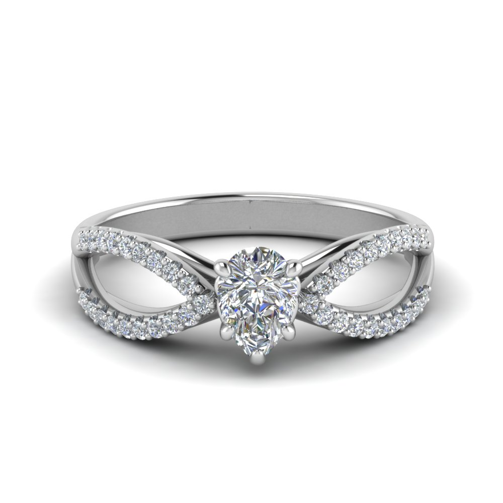 split shank pear diamond engagement ring in FD123748PER NL WG