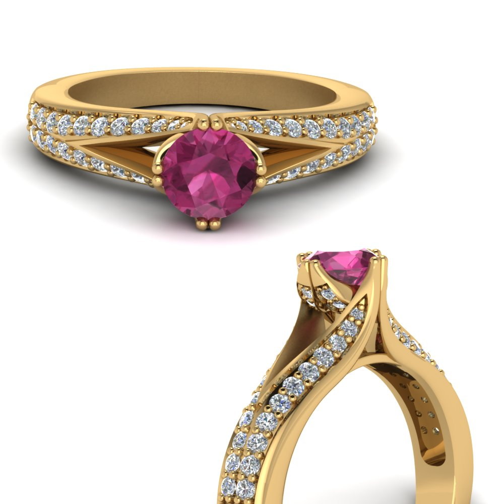 split shank round cut pink sapphire engagement ring in FDENR8205RORGSADRPIANGLE3 NL YG.jpg