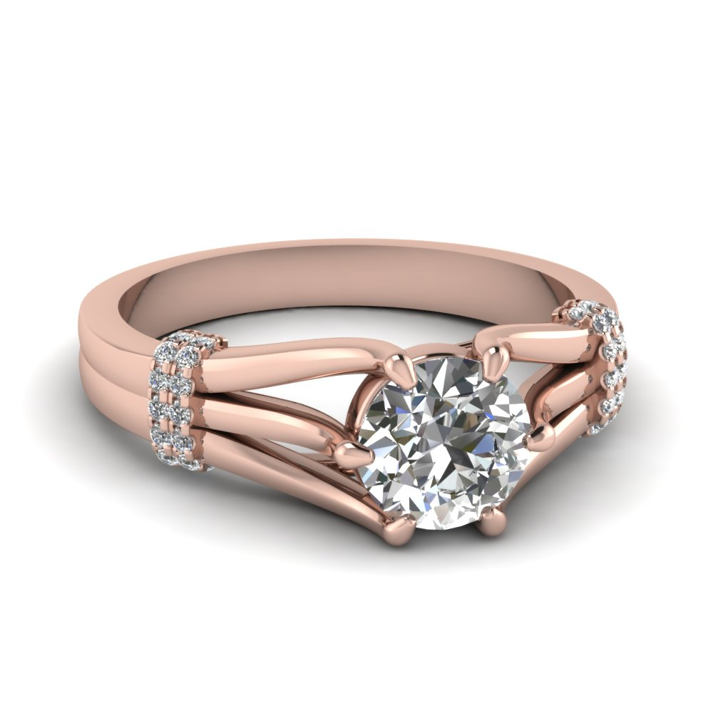 split shank round diamond ring in 14K rose gold FDENR9152ROR NL RG