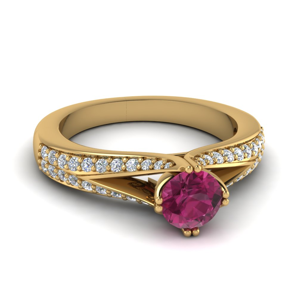 split shank pink sapphire engagement ring in FDENR8205RORGPS NL YG