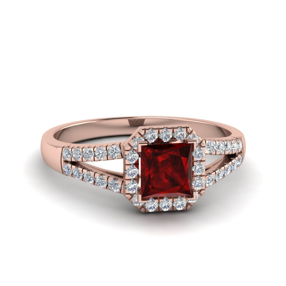 Ruby With Halo Engagement Ring