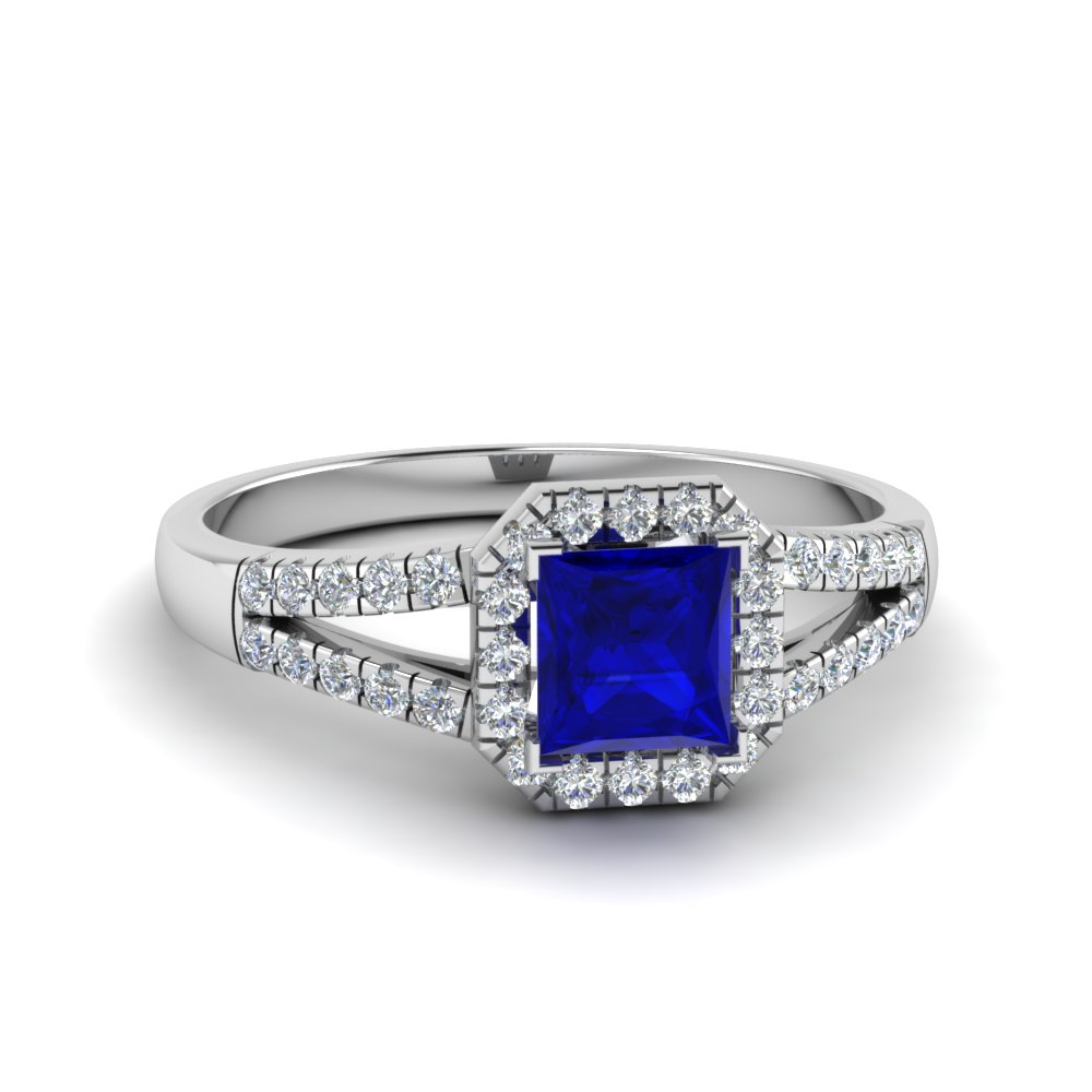 split shank square sapphire halo engagement ring in FDENS3157PRRGBS NL WG