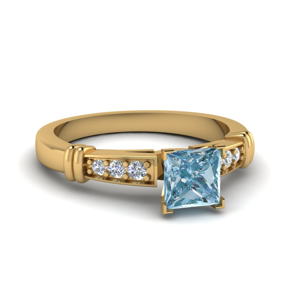 Aquamarine Pave Engagement Ring