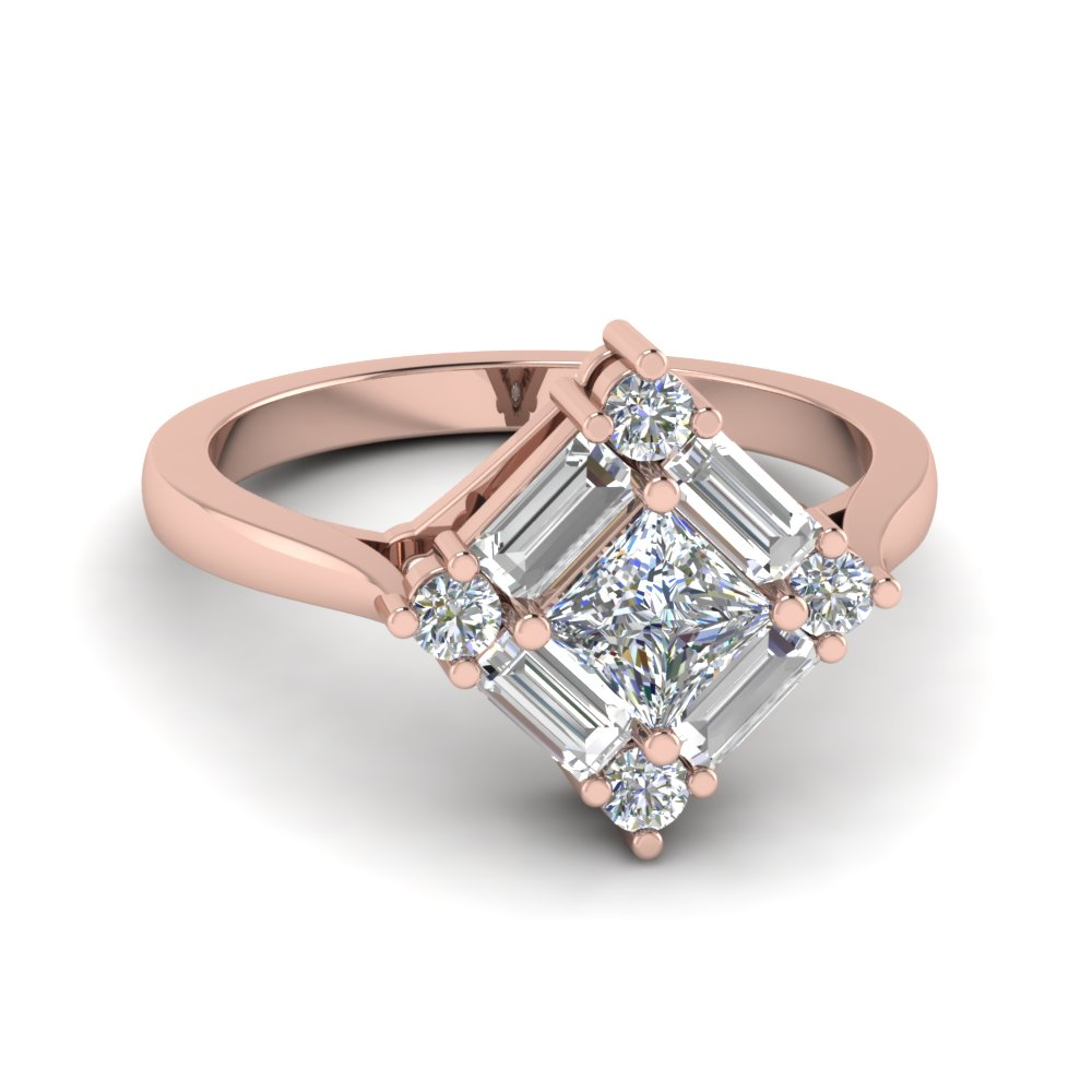 Square Baguette Halo Diamond Ring
