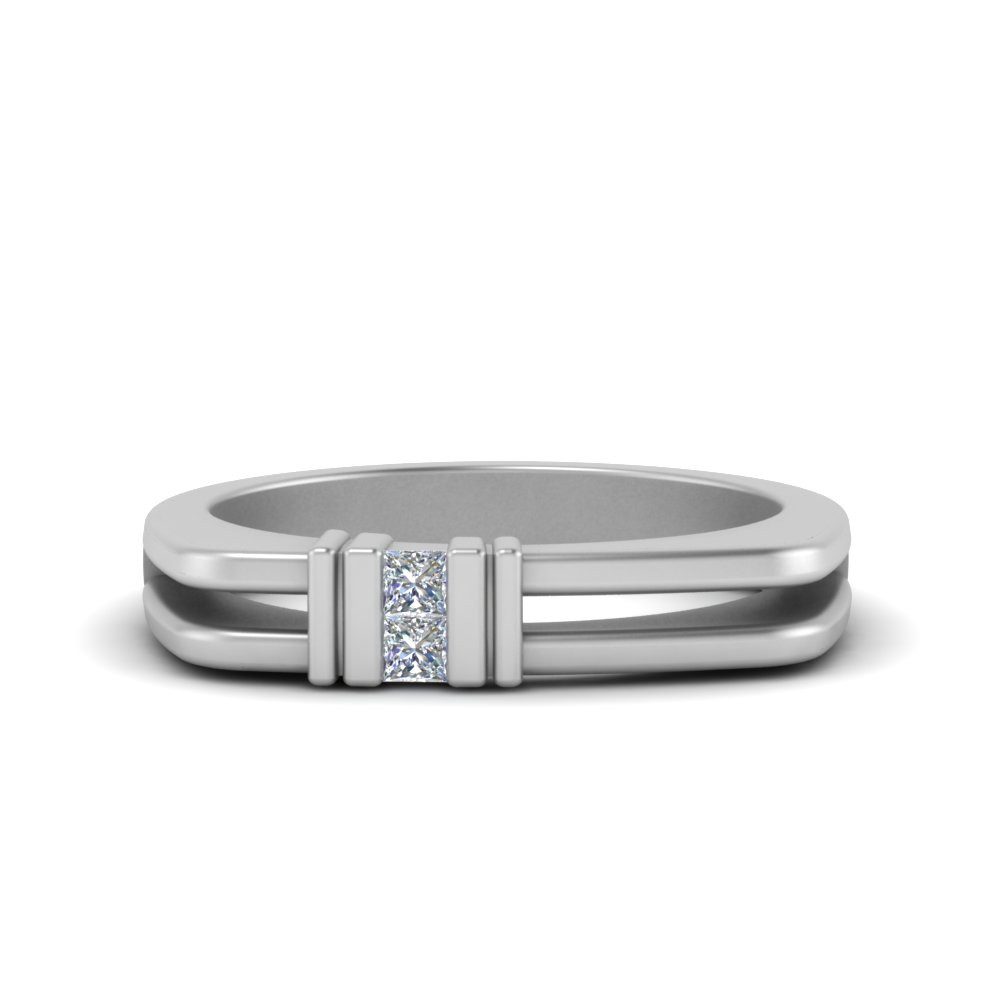 Square Comfort Fit 2 Stone Ring