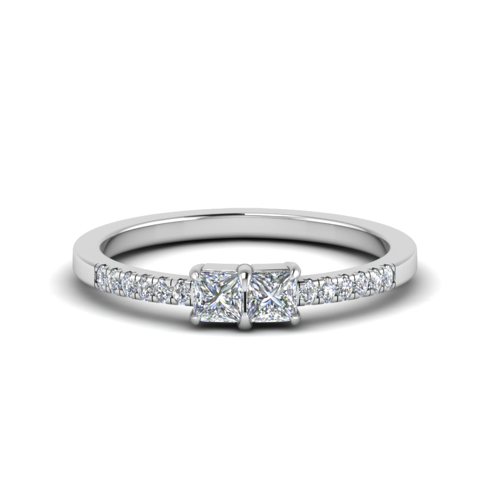 square diamond two stone diamond engagement ring in FD122196PRR NL WG