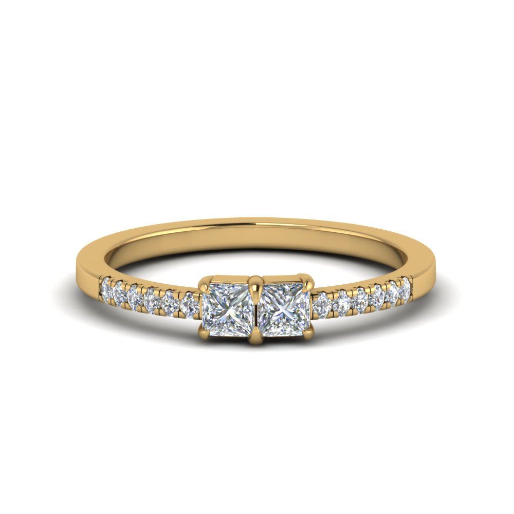 Square Diamond Two Stone Ring