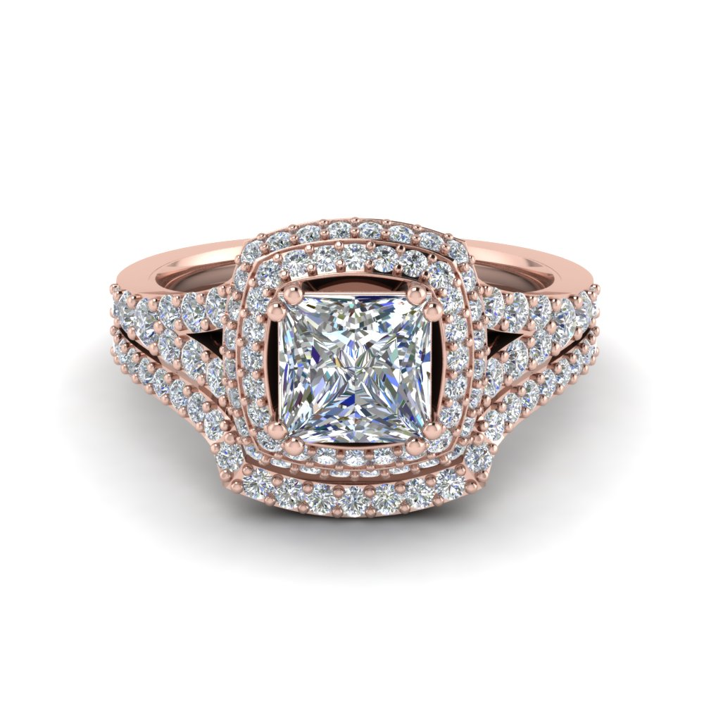 square-double-halo-lab diamond-wedding-ring-set-in-FD8688PR-NL-RG