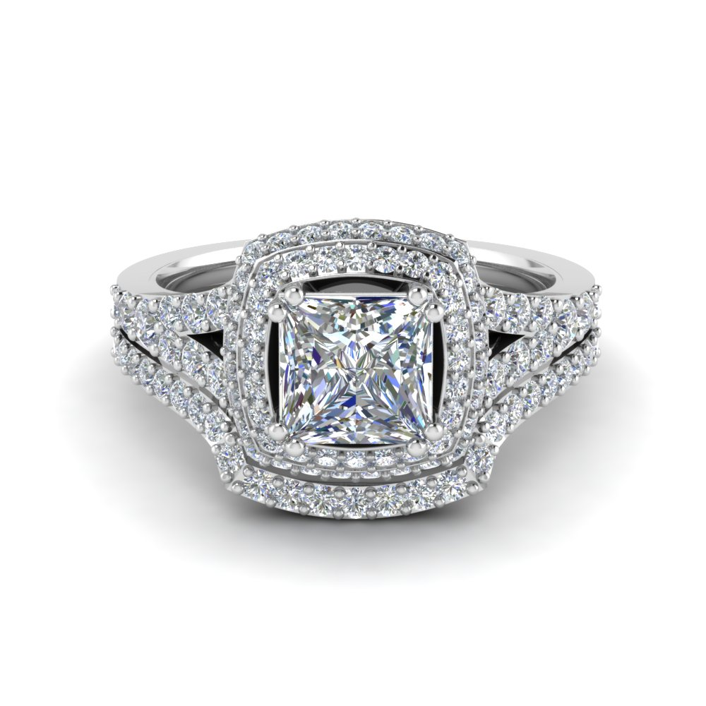 Square Double Halo Diamond Wedding Ring Set In