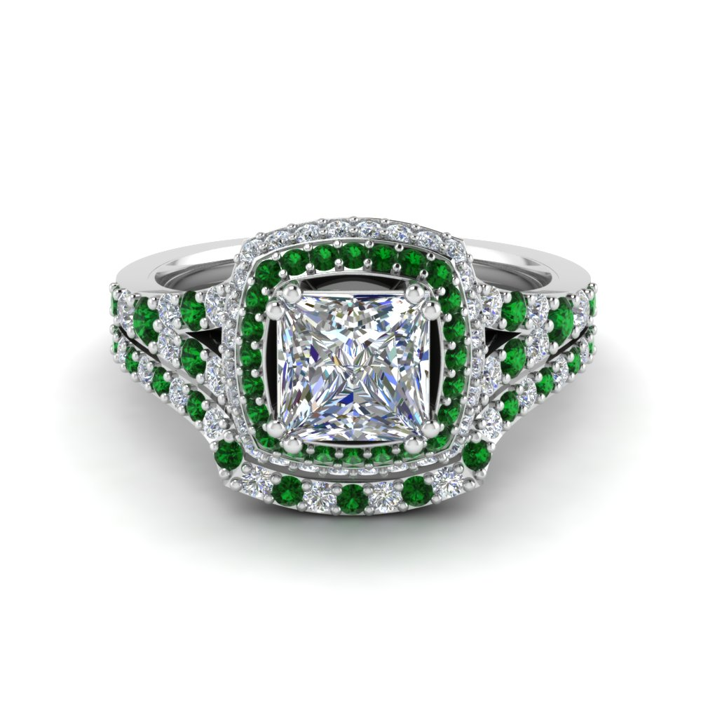 Square Halo Emerald Wedding Set