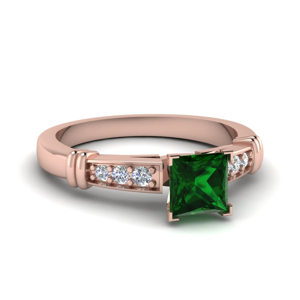 Emerald Gemstone Pave Ring