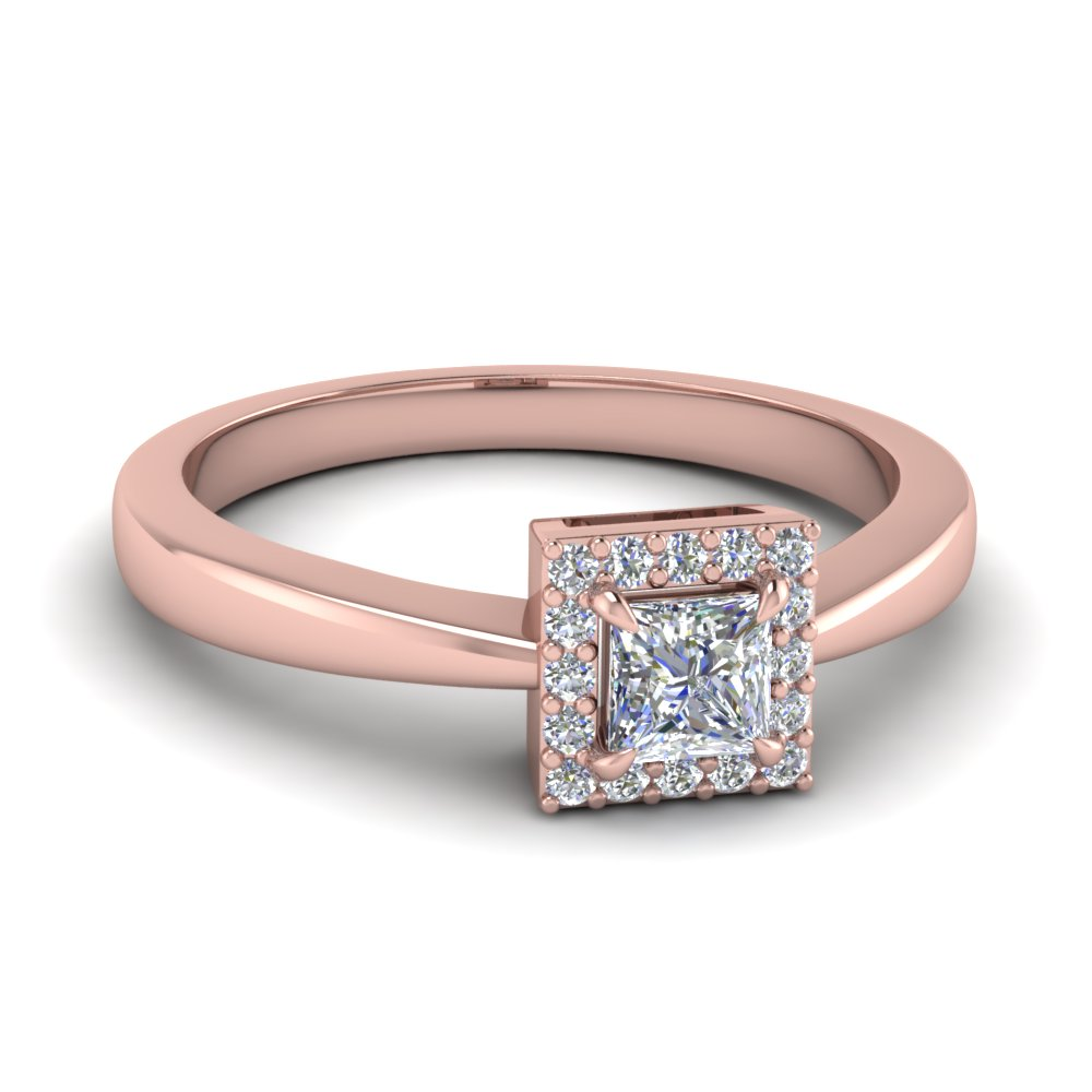 Square Halo Diamond Affordable Engagement Ring In 14K Rose Gold