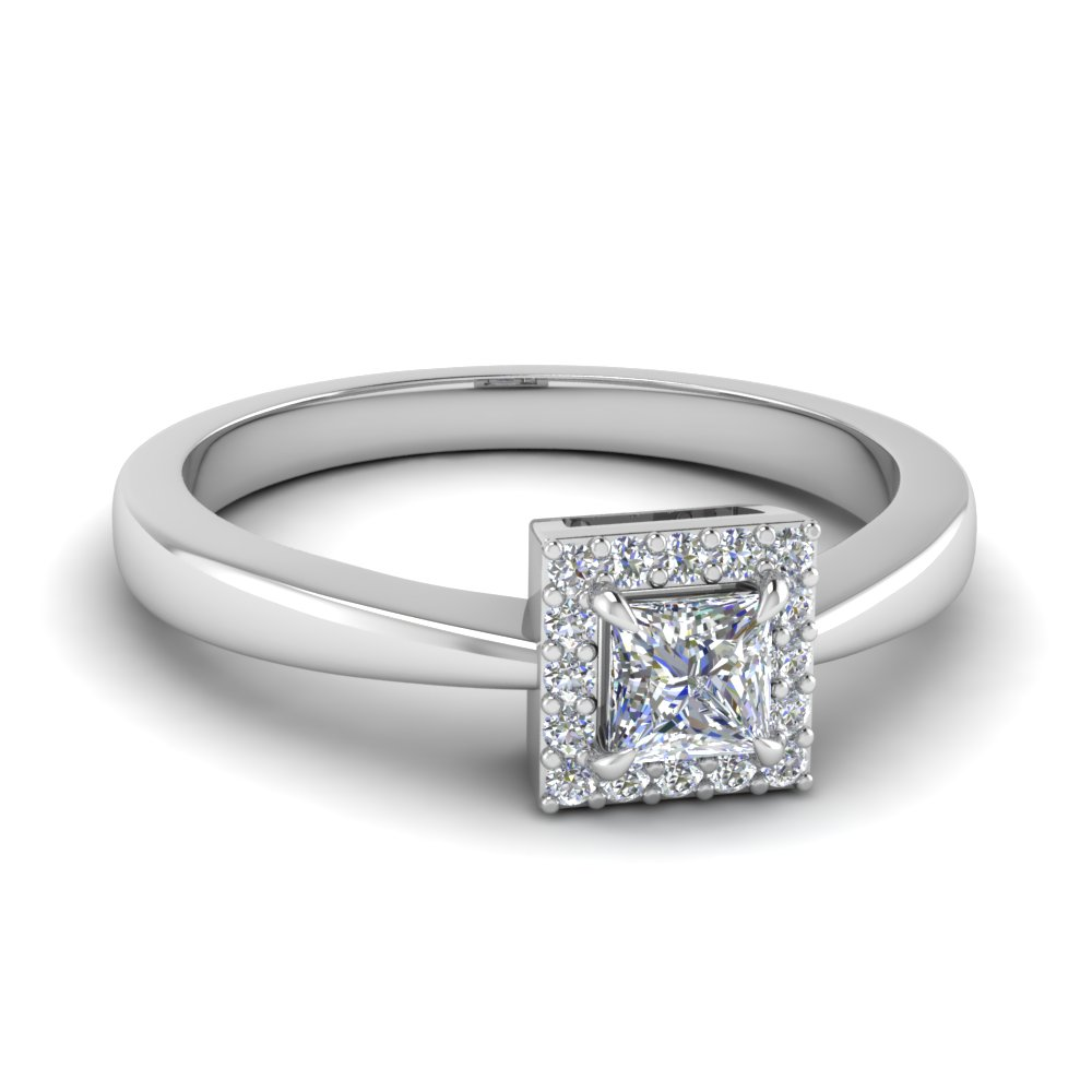 square halo diamond affordable engagement ring in 14k white gold fd1179prr nl wg - Affordable Wedding Rings