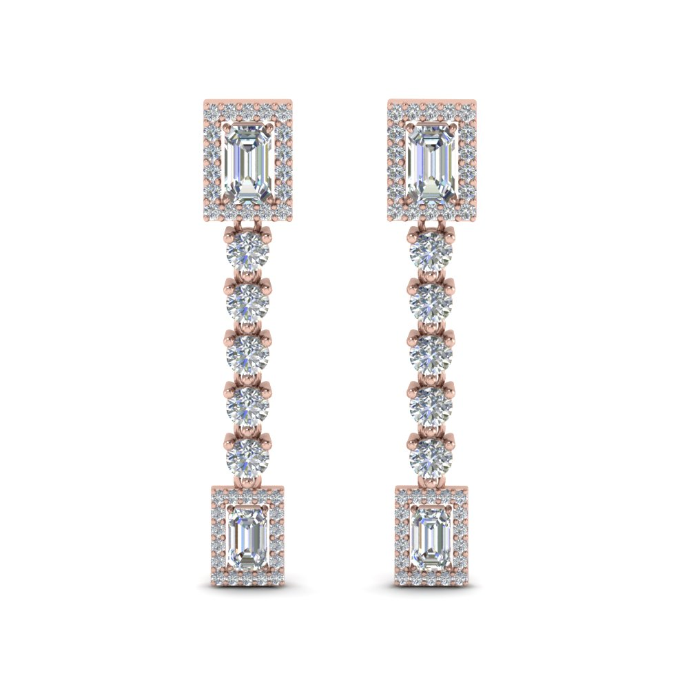 Square Halo Diamond Drop Earring