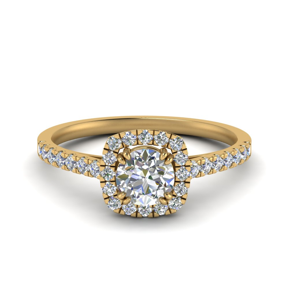 square halo french pave lab diamond engagement ring in FD9155ROR NL YG